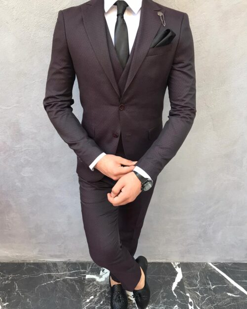 Damson Slim Fit Suit by BespokeDailyShop.com with Free Worldwide Shipping