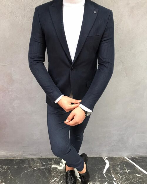 Dark Blue Slim Fit Blazer by BespokeDailyShop.com with Free Worldwide Shipping