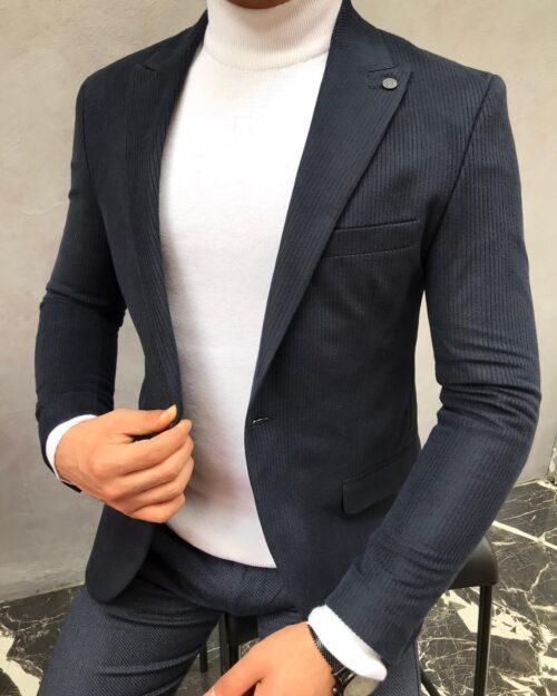 Dark Blue Slim Fit Blazer
