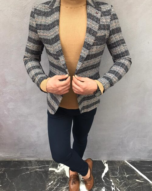 Dark Blue Slim Fit Plaid Wool Blazer by BespokeDailyShop.com with Free Worldwide Shipping