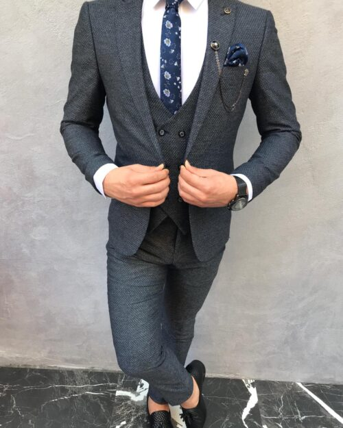 Dark Blue Slim Fit Suit by BespokeDailyShop.com with Free Worldwide Shipping