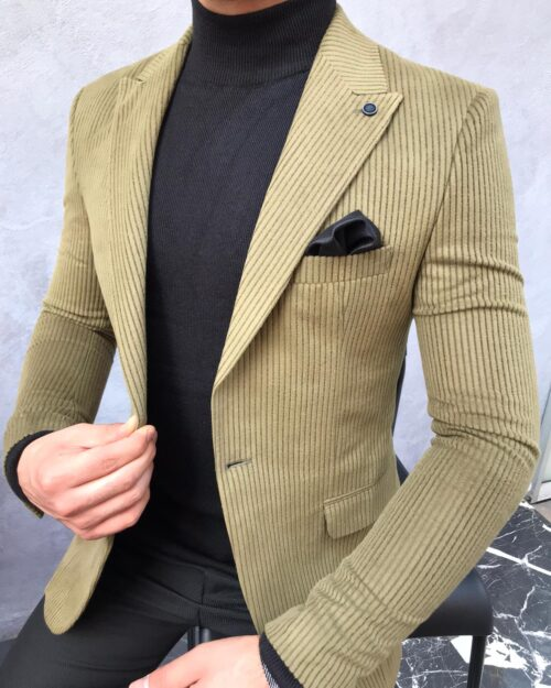 Green Slim Fit Blazer by BespokeDailyShop.com with Free Worldwide Shipping