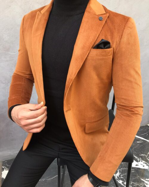 Mustard Slim Fit Blazer by BespokeDailyShop.com with Free Worldwide Shipping