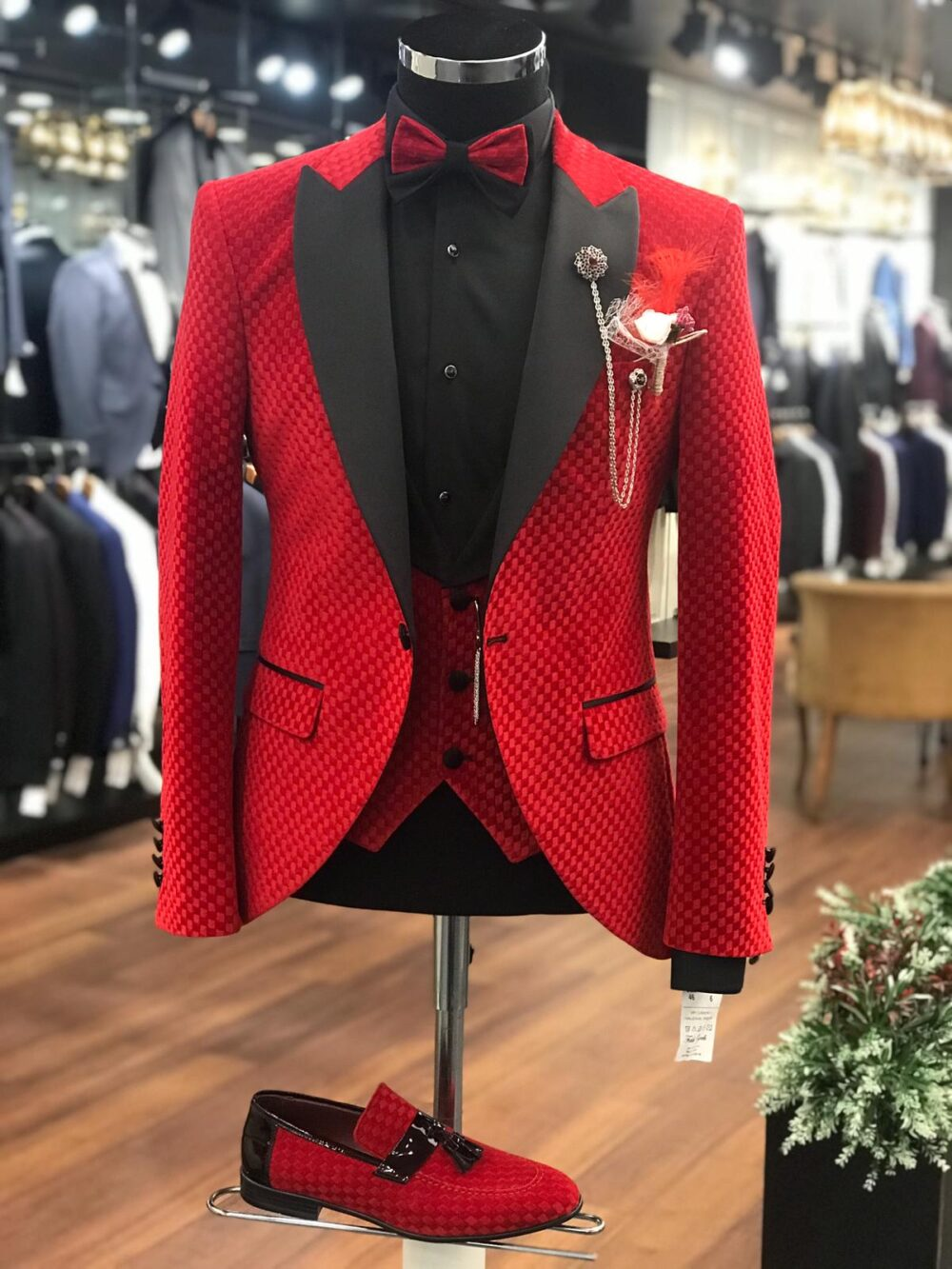 Red Slim Fit Peak Lapel Bespoke Tuxedo by BespokeDailyShop.com with Free Worldwide Shipping