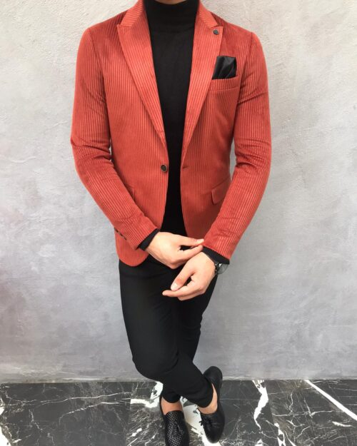 Tile Slim Fit Blazer by BespokeDailyShop.com with Free Worldwide Shipping