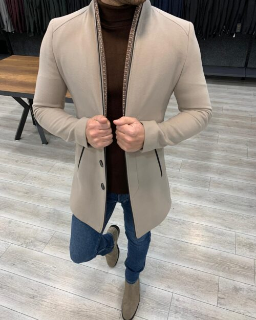 Beige Slim Fit Wool Long Coat by BespokeDailyShop.com with Free Worldwide Shipping