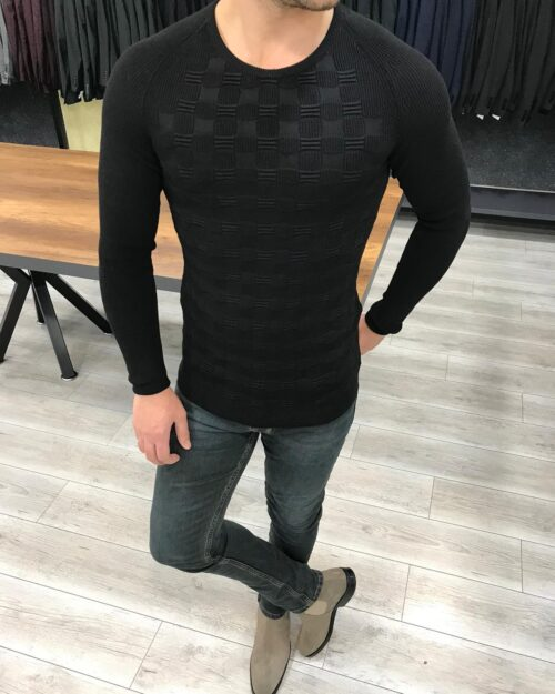 Black Slim Fit Crewneck Sweater by BespokeDailyShop.com with Free Worldwide Shipping