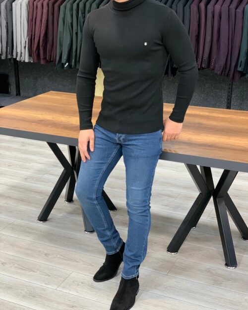 Black Slim Fit Turtleneck Sweater by BespokeDailyShop.com with Free Worldwide Shipping