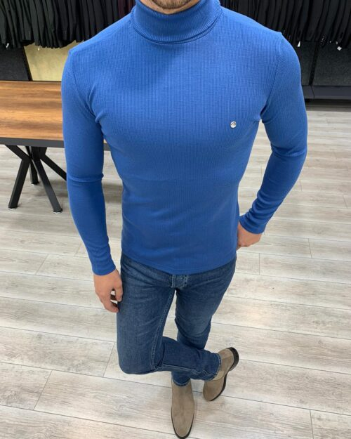 Blue Slim Fit Turtleneck Sweater by BespokeDailyShop.com with Free Worldwide Shipping
