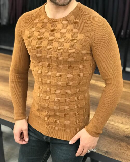 Brown Slim Fit Crewneck Sweater by BespokeDailyShop.com with Free Worldwide Shipping