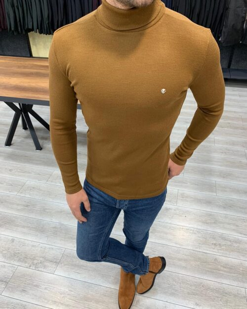 Brown Slim Fit Turtleneck Sweater by BespokeDailyShop.com with Free Worldwide Shipping