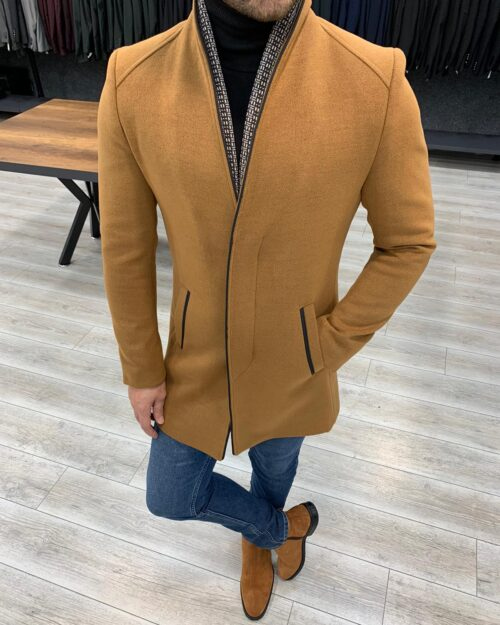 Camel Slim Fit Wool Long Coat by BespokeDailyShop.com with Free Worldwide Shipping
