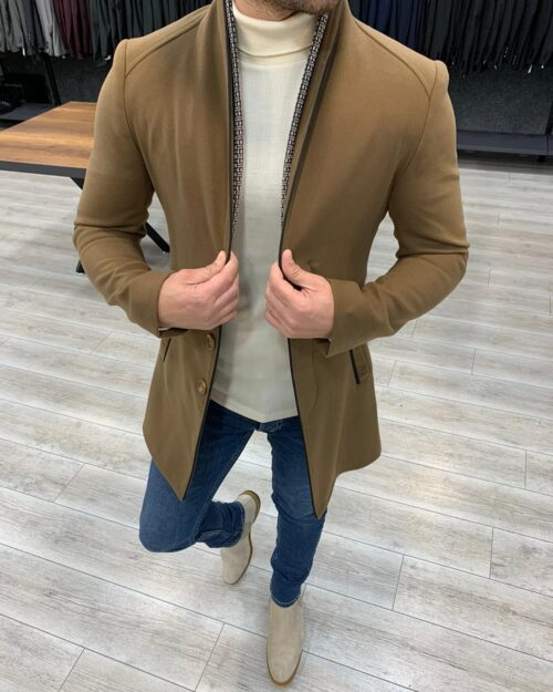 Brown Slim Fit Wool Long Coat by BespokeDailyShop.com with Free Worldwide Shipping