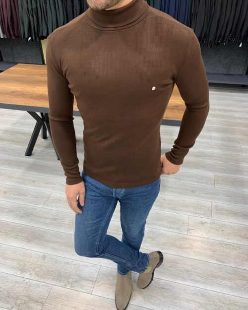 Coffee Slim Fit Turtleneck Sweater by BespokeDailyShop.com with Free Worldwide Shipping