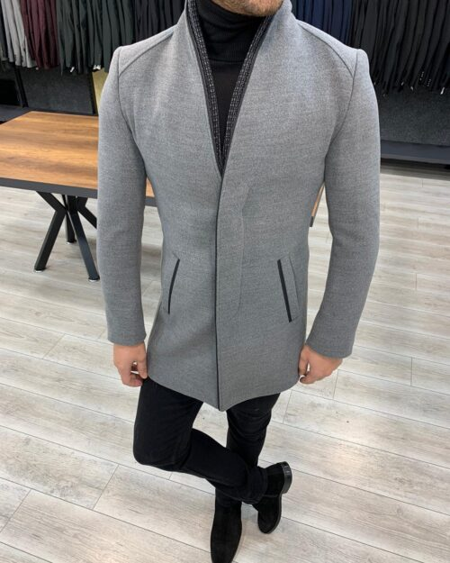 Gray Slim Fit Wool Long Coat by BespokeDailyShop.com with Free Worldwide Shipping