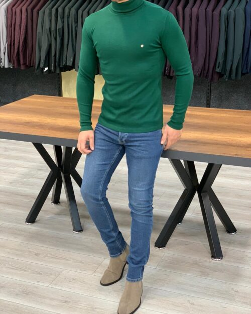 Green Slim Fit Turtleneck Sweater by BespokeDailyShop.com with Free Worldwide Shipping