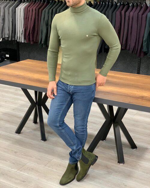 Khaki Slim Fit Turtleneck Sweater by BespokeDailyShop.com with Free Worldwide Shipping