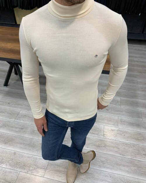 Mink Slim Fit Turtleneck Sweater by BespokeDailyShop.com with Free Worldwide Shipping