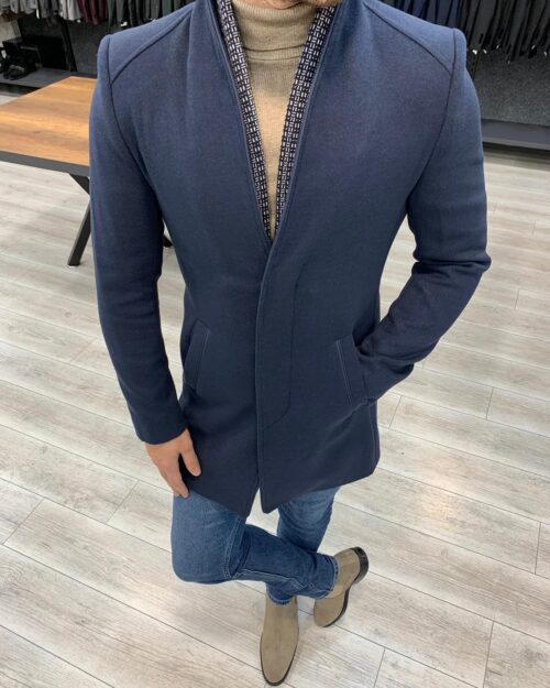 Navy Blue Slim Fit Wool Long Coat by BespokeDailyShop.com with Free Worldwide Shipping
