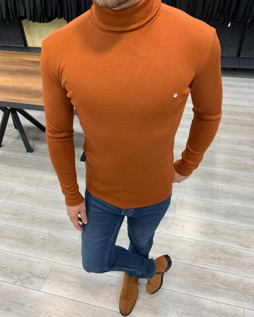 Tile Slim Fit Turtleneck Sweater by BespokeDailyShop.com with Free Worldwide Shipping