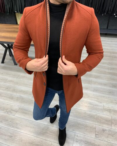 Tile Slim Fit Wool Long Coat by BespokeDailyShop.com with Free Worldwide Shipping
