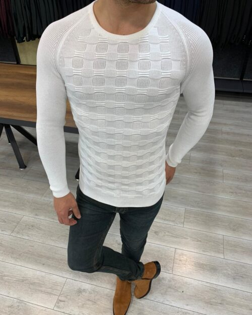 White Slim Fit Crewneck Sweater by BespokeDailyShop.com with Free Worldwide Shipping