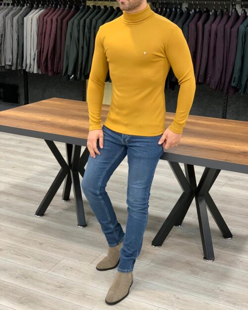 Yellow Slim Fit Turtleneck Sweater by BespokeDailyShop.com with Free Worldwide Shipping