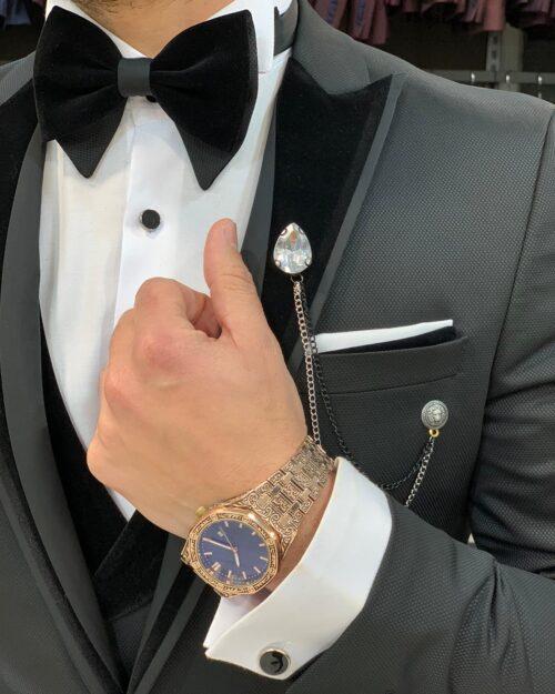 Black Slim Fit Velvet Peak Lapel Tuxedo by BespokeDailyShop.com with Free Worldwide Shipping