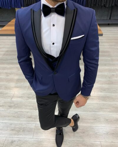 Navy Blue Slim Fit Peak Lapel Tuxedo by BespokeDailyShop.com with Free Worldwide Shipping