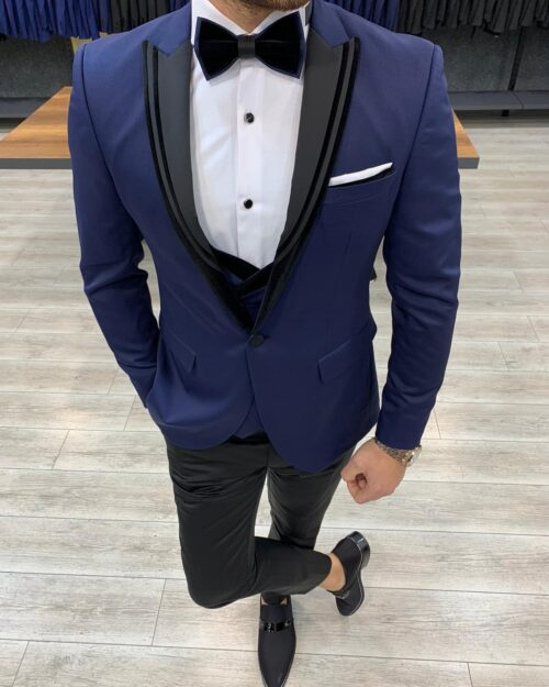 Navy Blue Slim Fit Peak Lapel Tuxedo by BespokeDailyShop.com with Free Worldwide Shipping