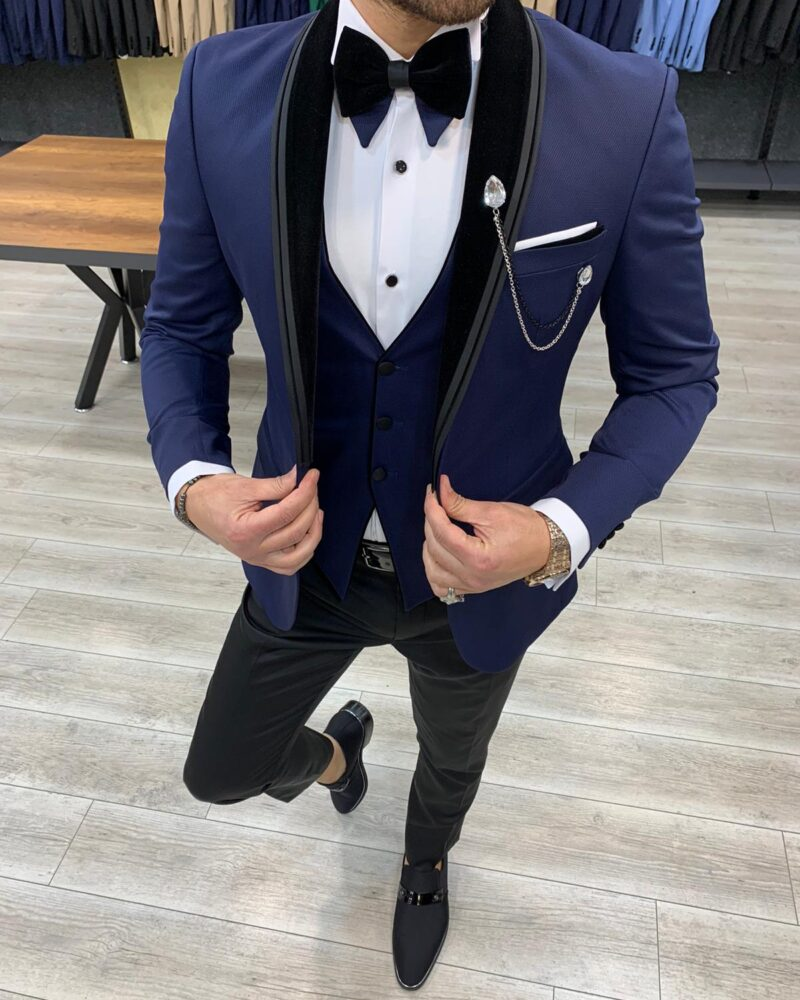 Navy Blue Slim Fit Velvet Shawl Lapel Tuxedo by BespokeDailyShop.com with Free Worldwide Shipping