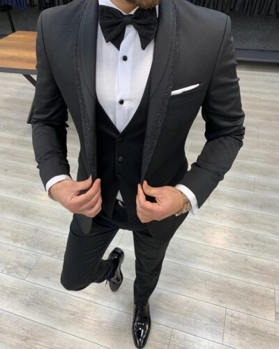 Black Slim Fit Shawl Lapel Tuxedo by BespokeDailyShop.com with Free Worldwide Shipping