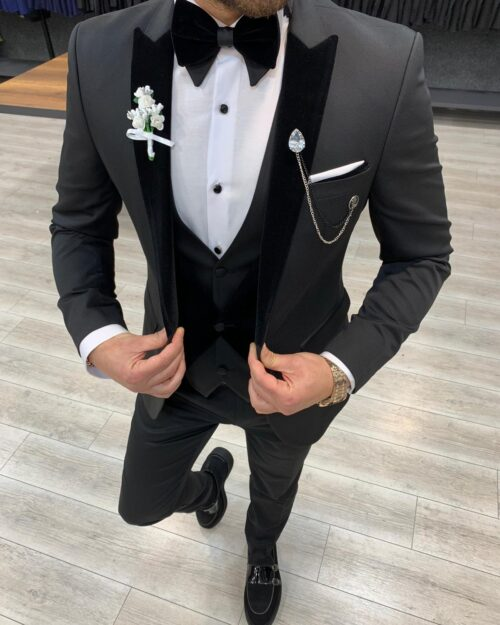 Black Slim Fit Velvet Peak Lapel Tuxedo by BespokeDailyShop.com with Free Worldwide Shipping