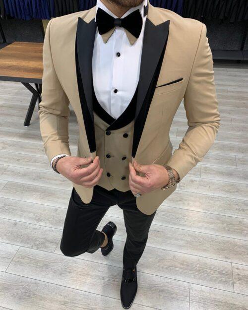Gold Slim Fit Velvet Peak Lapel Tuxedo by BespokeDailyShop.com with Free Worldwide Shipping