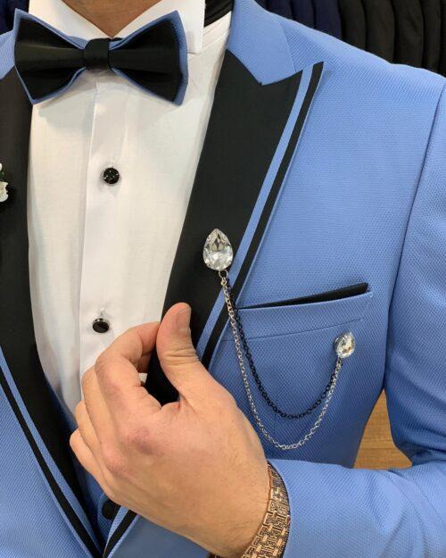 Ice Blue Slim Fit Peak Lapel Tuxedo by BespokeDailyShop.com with Free Worldwide Shipping