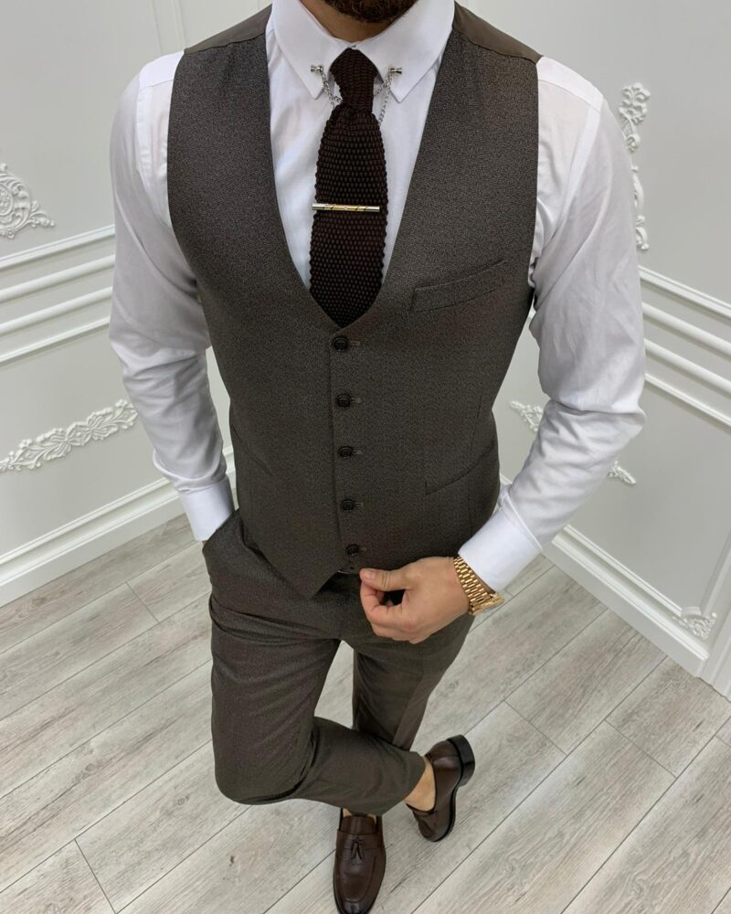 Coffee Brown Slim Fit Plaid Suit by BespokeDailyShop.com with Free Worldwide Shipping