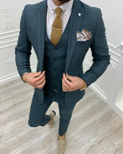 Green Slim Fit Plaid Suit by BespokeDailyShop.com with Free Worldwide Shipping