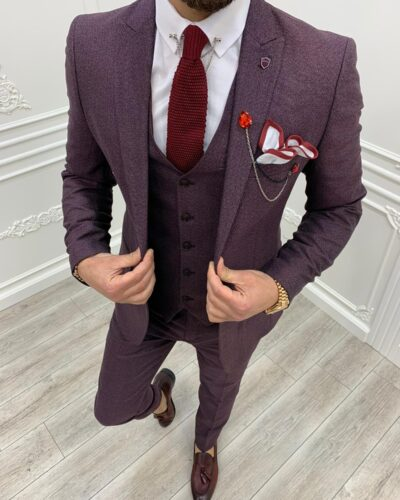 Red Slim Fit Suit by BespokeDailyShop.com with Free Worldwide Shipping