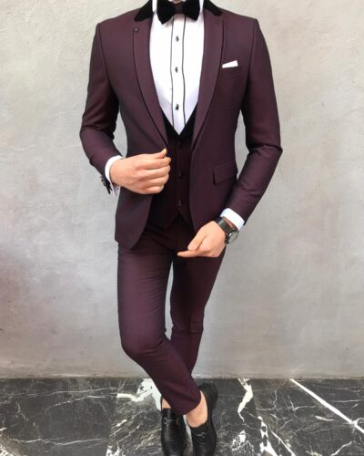 Burgundy Slim Fit Notch Lapel Tuxedo by BespokeDailyShop.com with Free Worldwide Shipping