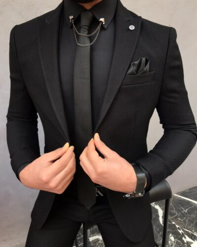 Black Slim Fit Wool Blazer by BespokeDailyShop.com with Free Worldwide Shipping