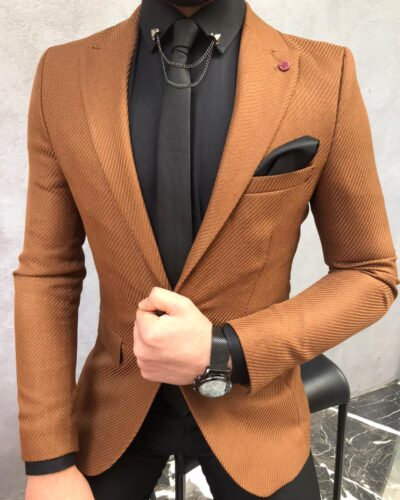 Brown Slim Fit Wool Blazer by BespokeDailyShop.com with Free Worldwide Shipping