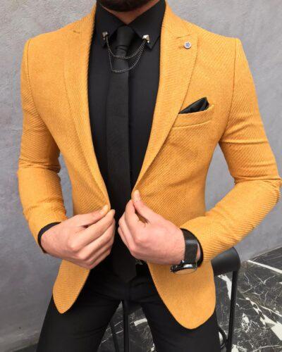 Mustard Slim Fit Wool Blazer by BespokeDailyShop.com with Free Worldwide Shipping