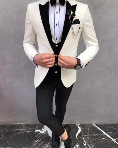 White Slim Fit Velvet Peak Lapel Tuxedo by BespokeDailyShop.com with Free Worldwide Shipping