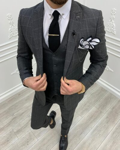 Black Slim Fit Plaid Suit by BespokeDailyShop.com with Free Worldwide Shipping