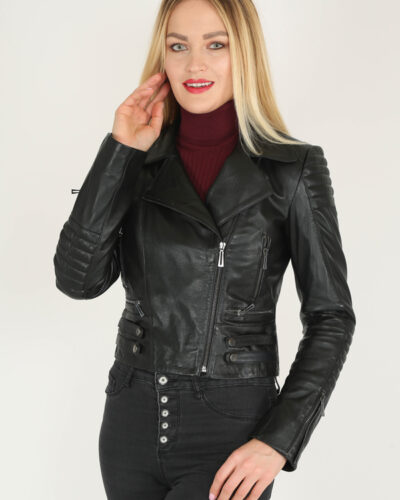 Black Handcrafted Genuine Leather Jacket by BespokeDailyShop.com with Free Worldwide Shipping
