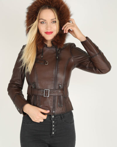 Brown Handcrafted Genuine Leather Jacket by BespokeDailyShop.com with Free Worldwide Shipping