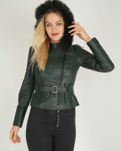 Green Handcrafted Genuine Leather Jacket by BespokeDailyShop.com with Free Worldwide Shipping