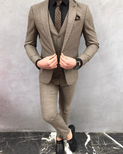 Brown Slim Fit Plaid Suit by BespokeDailyShop.com with Free Worldwide Shipping