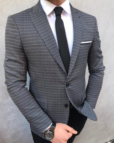 Black Slim Fit Blazer by BespokeDailyShop.com with Free Worldwide Shipping