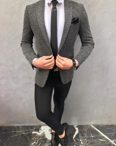 Dark Gray Slim Fit Wool Blazer by BespokeDailyShop.com with Free Worldwide Shipping